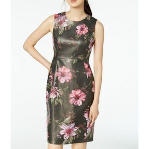 NWT Calvin Klein Faux Leather Painted Floral Dress